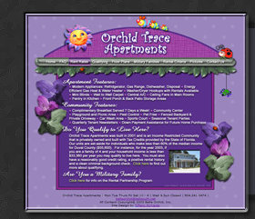 Web Design by Tiffany Richards for Orchid Trace Apts, Atlantic Beach, FL