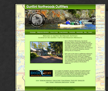 Web Design & Photography by Tiffany Richards for Gunflint Northwoods Outfitters